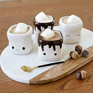 AVAFORT Marshmallow Shaped Hot Chocolate Mugs Couple Matching Mugs Anniversary Christmas Wedding Valentine's Day Gift Funn...
