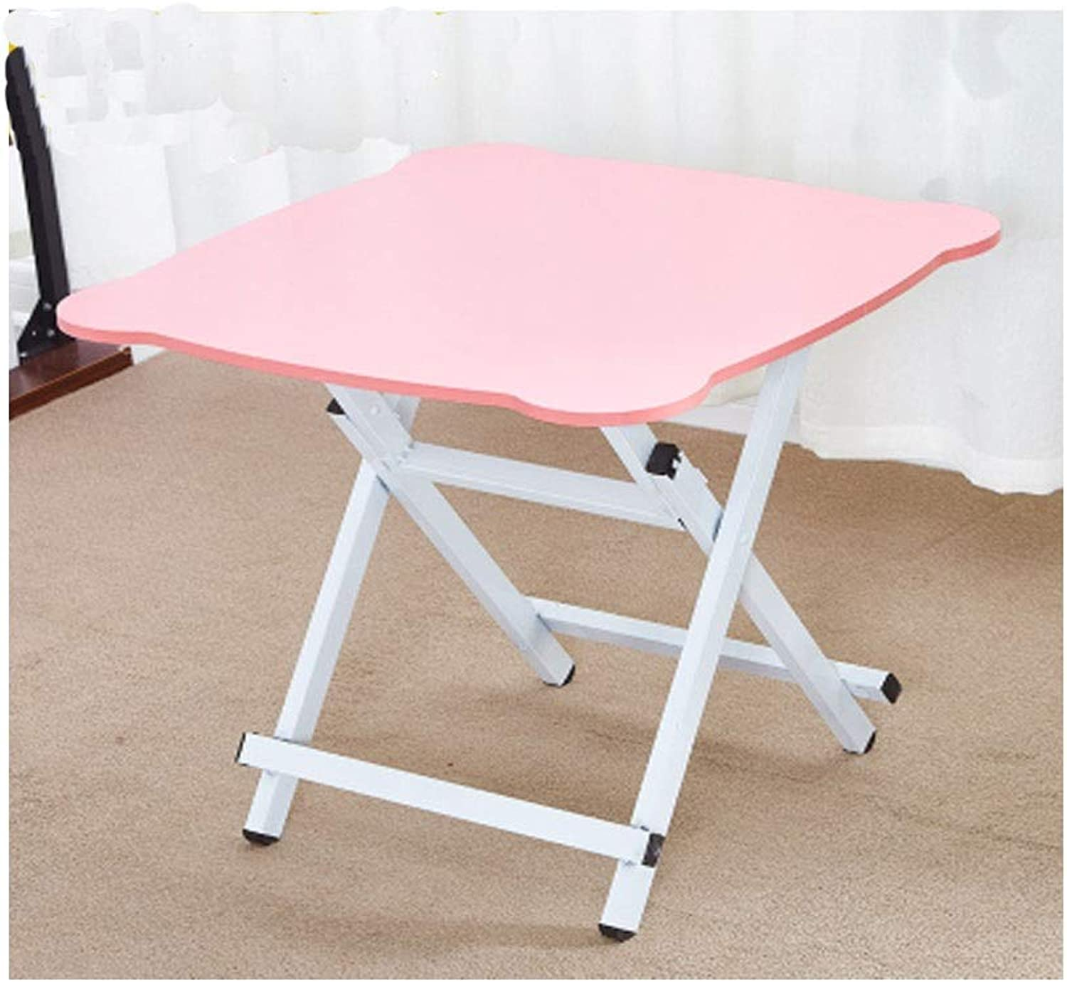 Table and Chairs, Folding Tables and Chairs, Simple Multi-Function Folding Table, Good Material, Practical and Durable (color   Pink, Size   60  60  75cm)