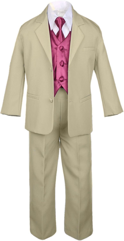 Unotux Manufacturer OFFicial shop 7pc Boy Khaki Suit with Store Satin Vest Burgundy Set Necktie f