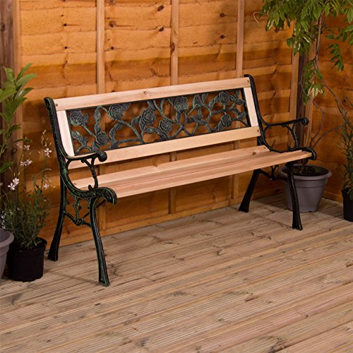 Home Discount Garden Vida Garden Bench, Rose Style Design 3 Seater Outdoor Furniture Seating Wooden Slats Cast Iron Legs...