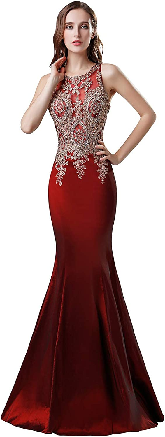 Belle House Women's Long Formal Dresses with Beads Luxury Prom Ball Gown Evening Dress
