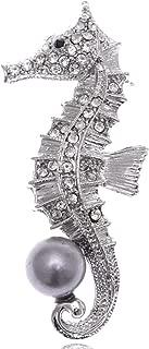 Clear Crystal Rhinestone Grey Faux Pearl Beaded Ocean Seahorse Cute Pin Brooch