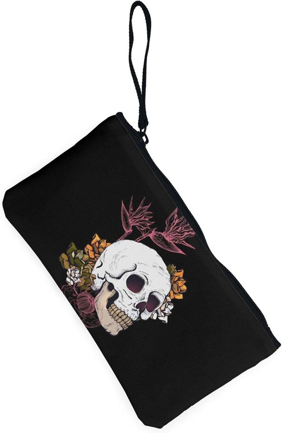 AORRUAM Floral Skull Canvas Coin Purse,Canvas Zipper Pencil Cases,Canvas Change Purse Pouch Mini Wallet Coin Bag