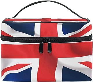 CUTEXL Cosmetic Bag British Flag Stripe Pattern Large Makeup Brush Box Portable Travel Train Case Organizer for Women Lady