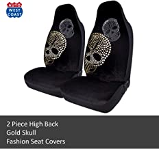 West Coast Auto Car Seat Covers for Cars, Trucks, Vans, SUVs and Crossovers - Fashion Foil Print Diamond Skull Beads - Airbag Compatible (Gold Skull)