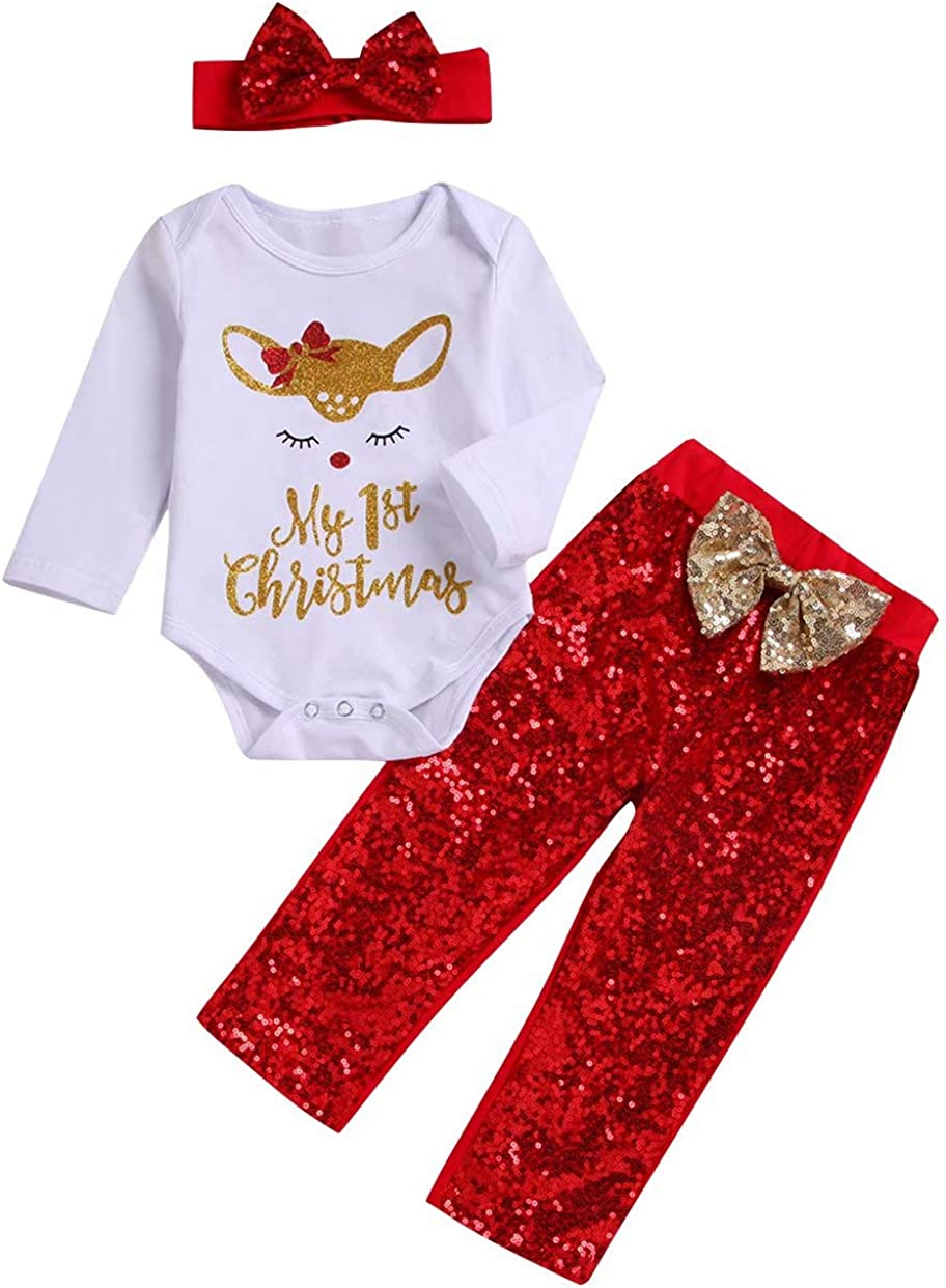 Christmas Outfits for Newborn Baby Girls Boys My First Christmas Romper + Sequin Bow Pant+ Headband 3Pcs Set