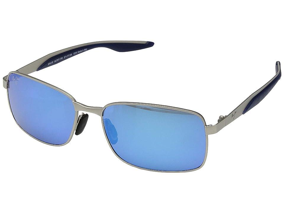 Maui Jim Shoal (Matte Silver/Blue Hawaii) Sport Sunglasses