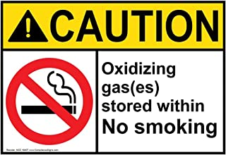 Caution Oxidizing Gas(ES) Stored Within No Smoking ANSI Safety Sign, 10x7 in. Aluminum for No Smoking by ComplianceSigns