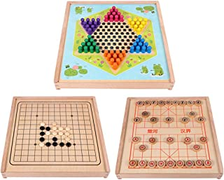 3 in 1 Wooden Board Game Set,Chinese Checkers,Chinese Chess and Gobang Combo Table Game for Kids Adults Family