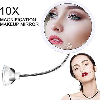 STLOVe LED Espejo de Maquillaje Aumento de 10X con Ventosa & el Cuello de Cisne Flexible Ajustable 360 ° Espejo de Baño (Mirror 2)