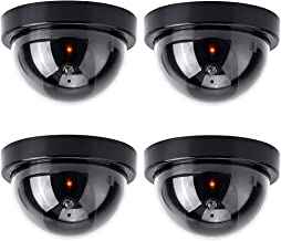 Cámaras de Simulada CCTV Falsa de imitación, 4 Piezas Cámara Falsa Dummy Cámara para Interiores y Exteriores con luz Inter...