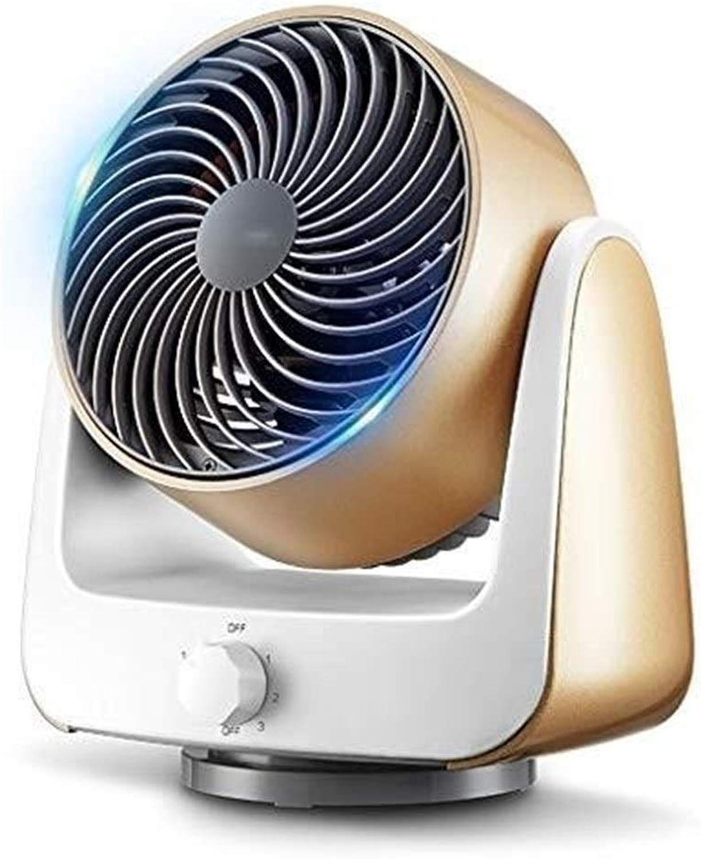 BEITAI Ventilador de escritorio , 6 pulgadas Ventilador de circulación Dormitorio Mini Estéreo con cabeza de agitación Ventilador frío, viento de la tercera marcha izquierda y derecha Oscilante de oro