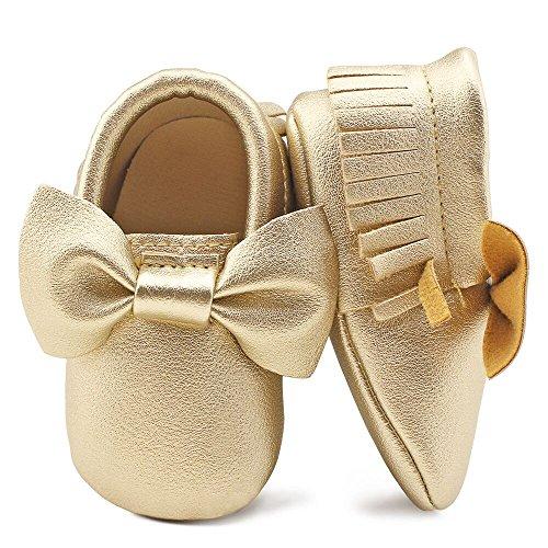 OOSAKU Infant Tolddler Baby Soft Sole PU Leathe Bowknots Shoes (12-18 Months, Gold)