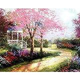 ZXDA DIY Pintura por números Flores de Cerezo Paisaje Pintado a Mano Arte Regalo Paisaje Lienzo Dibujo decoración del hogar Marco A8 50x70cm