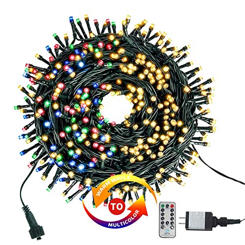 Chuya 300LED Dual Color Changing Christmas Tree Lights,Warm White to Multi Color ,End-to-End Plug 9 Modes ,105ft Outdoor Indoor String Lights for Christmas Holidays Party Wedding Decoration