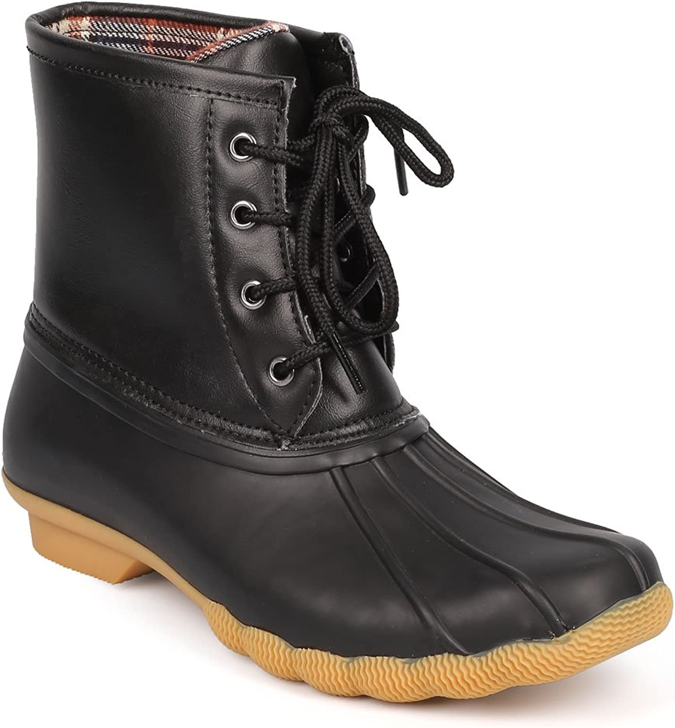 Refresh DD26 Women Leatherette Two Tone Mix Media Lace Up Duck Boot - Black