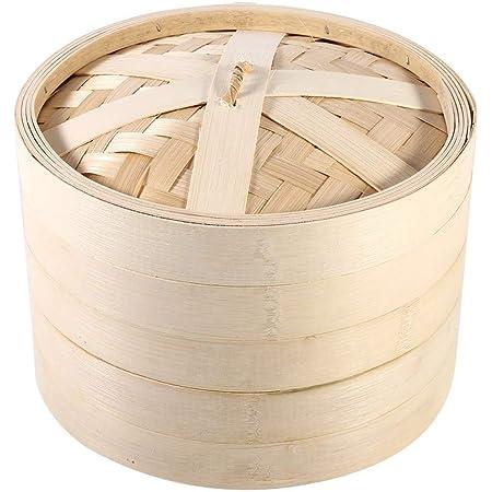 Panier à Vapeur, 2 Couches Cuisine Panier à Vapeur en Bambou Chinois Cuisson à la Vapeur panier pour Bébé Nourriture, Restaurant, etc.(22cm)