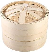 Panier à Vapeur, 2 Couches Cuisine Panier à Vapeur en Bambou Chinois Cuisson à la Vapeur panier pour Bébé Nourriture, Rest...