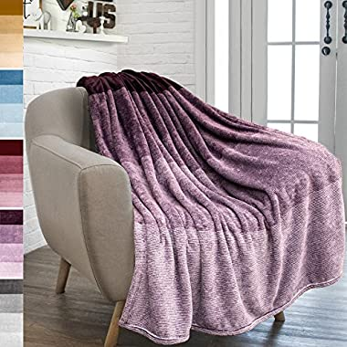 PAVILIA Flannel Fleece Purple Throw Blanket | Soft Cozy Warm Plush Microfiber Lightweight | Gradient Ombre Decorative Luxury Velvet Throw| For Sofa Couch Bed | 50 x 60 Inches | All Season Use