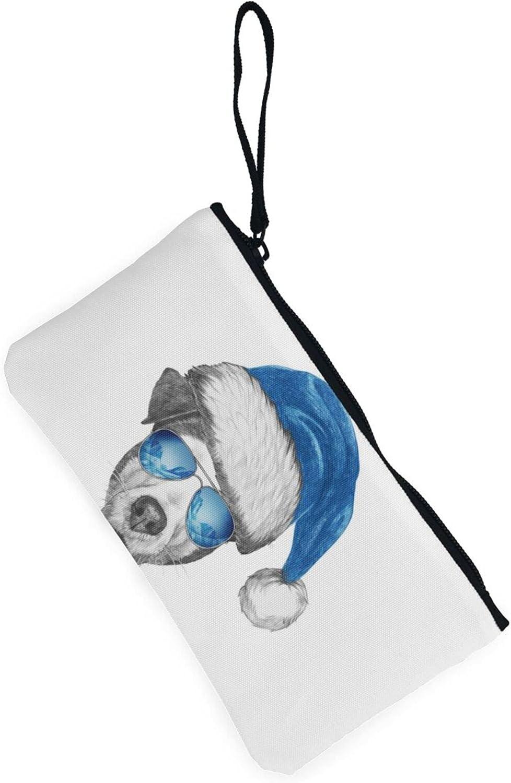 AORRUAM Leopard glasses hat Canvas Coin Purse,Canvas Zipper Pencil Cases,Canvas Change Purse Pouch Mini Wallet Coin Bag