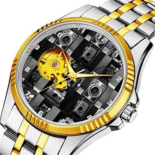 時計、機械式時計 メンズウォッチクラシックスタイルのメカニカルウォッチスケルトンステンレススチールタイムレスデザインメカニ (ゴールド)-265. カメラ Collagein モノクロクラシックステンレススチール腕時計