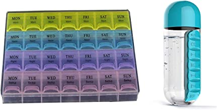 Dewberries® 7 Days Tablet Pill Box Organiser and 600ml Pill Storage Water Bottle Combo