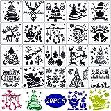 20 STK Wiederverwendbare Weihnachten Schablonen Set Zeichenschablonen Zeichnung Malerei Schablone...