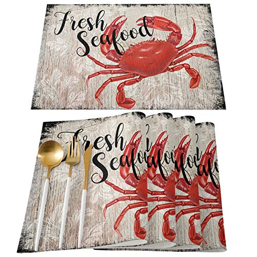 Ldtrchee Placemats for Dining Table Mats - Set of 6 Retro Fresh Red Crab Pattern Washable Placemats for Kitchen Patio Table Summer Seafood Vintage Wooden Shabby Wipeable Table Placemats 13 x 19