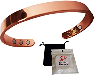 Fitness Braces Pure Copper Magnetic Bracelet for Women and Men, Rose Gold, w/Free Pouch, Arthritis Therapy Natural Pain Relief