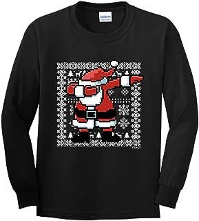 Dabbing Santa Claus Ugly Christmas Sweater Themed Youth Long Sleeve T-Shirt