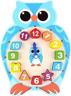 NUOLUX 時計玩具 学習時計 知育時計 キャラクター時計 可愛い 時計おもちゃ 動物型 子供時計認識
