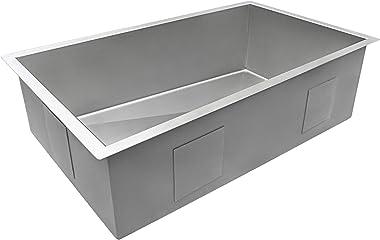 Ruvati 32-inch Slope Bottom Offset Drain Reversible Kitchen Sink 16 Gauge Undermount - RVH7490