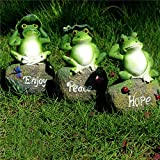 CoolPlus Frog Garden Decor Statue, Outdoor Lawn Ornaments and Figurines, Yard Decorations Art, Perfect for Patio Balcony Flower Stand Rack Indoor Desk. A Set of 3, [Original Design & Genuine Products]