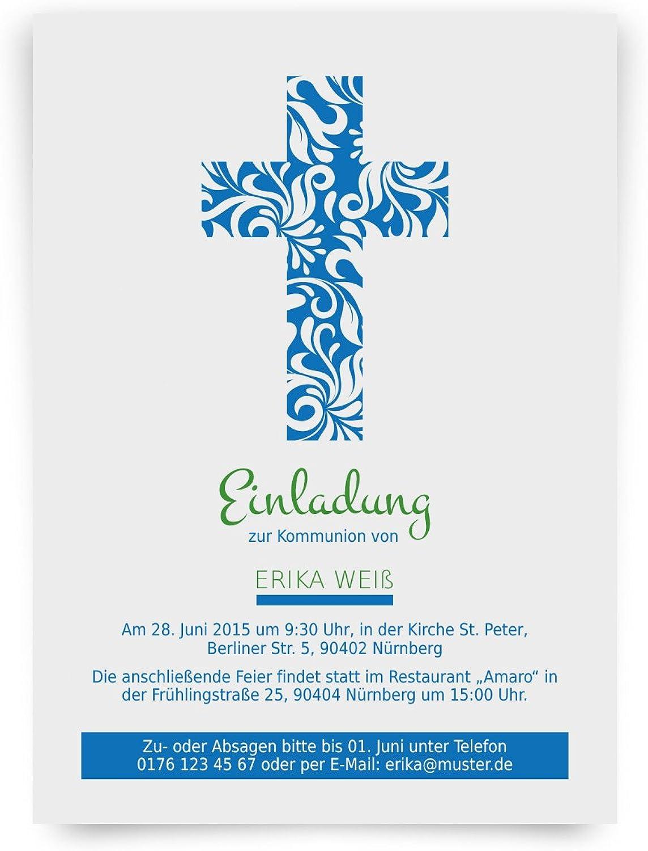 Einladungskarten zur Kommunion (40 Stück) Blaumenkreuz Kreuz Blau Kommunionseinladungen B00TYJEBEE    Moderne und elegante Mode