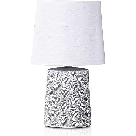 BRUBAKER - Lampe de table/de chevet - Design scandinave/moderne - Hauteur 33 cm - Pied en Céramique/Gris - Abat-jour en Lin/Blanc