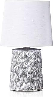BRUBAKER - Lampe de table/de chevet - Design scandinave/moderne - Hauteur 33 cm - Pied en Céramique/Gris - Abat-jour en Li...