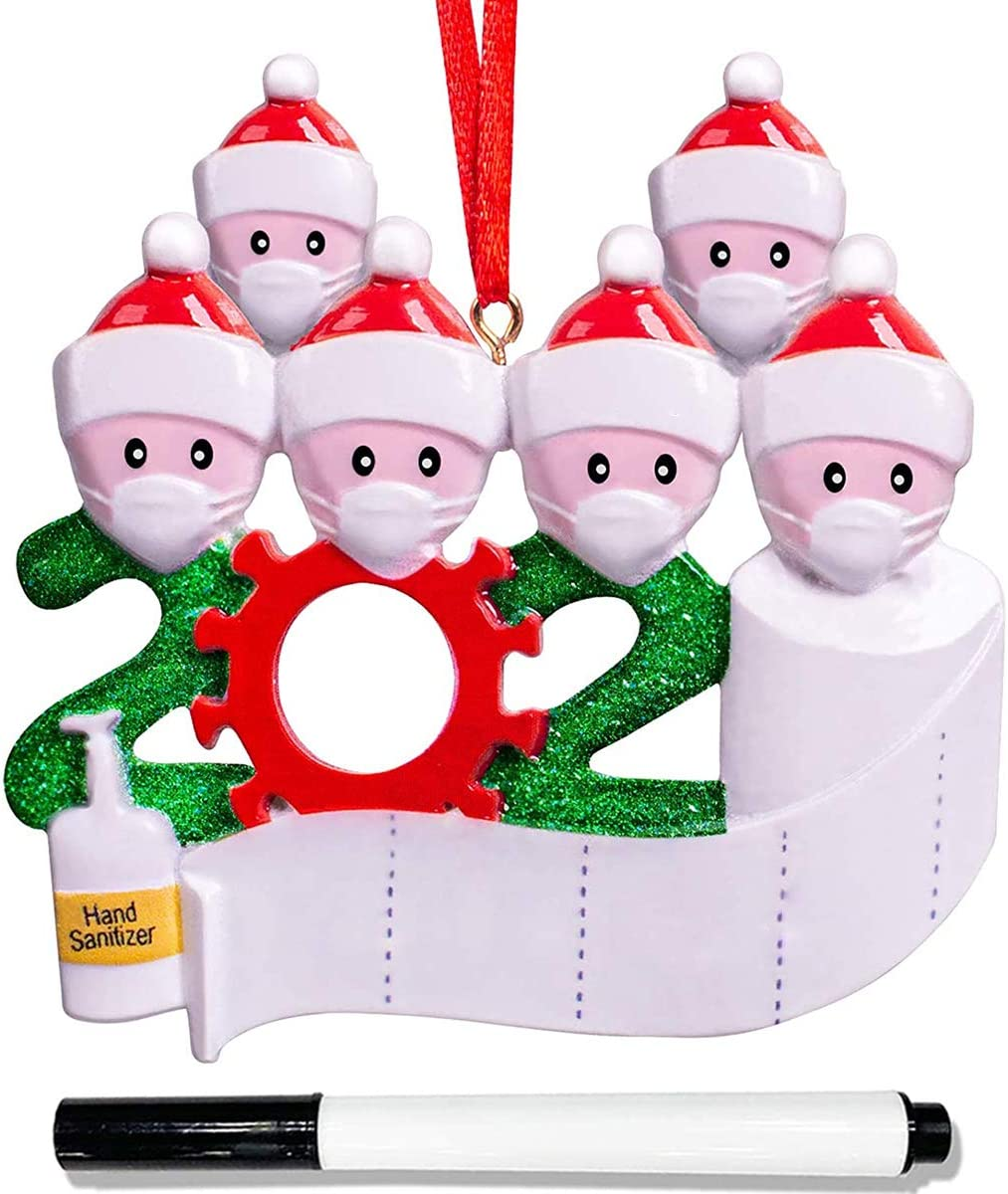IFUDOIT 2020 Christmas Ornaments,Personalized Quarantine Survivor Family Christmas Tree Ornaments,Holiday Decorations DIY Name Blessing Resin Snowman Christmas Tree Pendants with 1 Marker Pen
