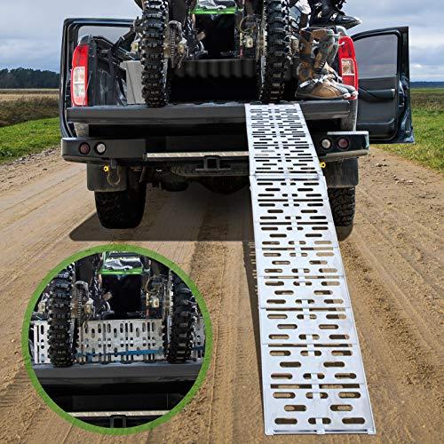 Rampe de Chargement - Lot de 1 ou 2 Pices, Pliable, en Aluminium, Charge max. 340 kg ou 680 kg, Antidrapante, pour tous les Motos, Quads, Voitures, Remorques - Rampe, Rails dAccs (Lot de 1 Rampe)