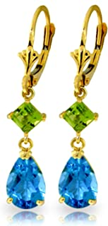 blue topaz leverback earrings