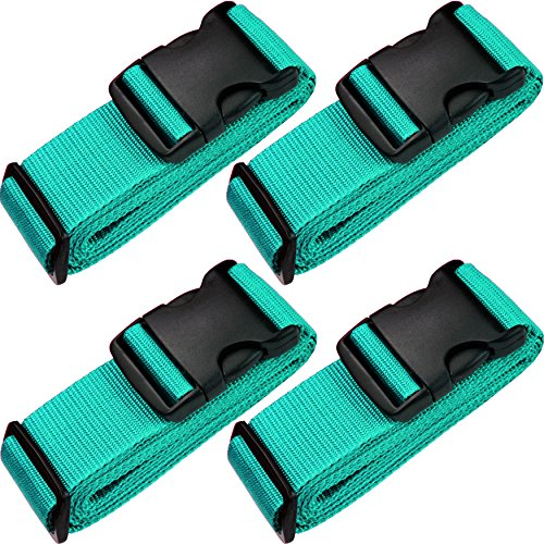 TRANVERS Universal Luggage Straps for Suitcase with ID Function 4-Pack Lake Blue