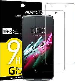 NEW'C 2-pack skärmskydd med Alcatel One Touch Idol 3 (4.7) – Härdat glas HD klar 9H hårdhet bubbelfritt