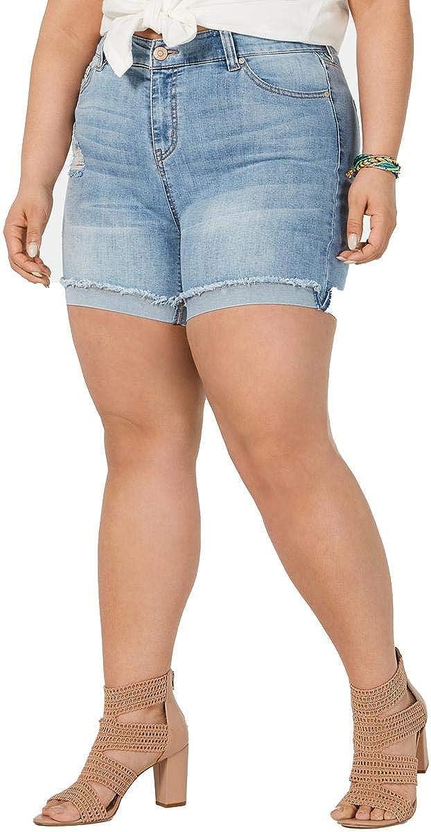 CELEBRITY PINK Women's Plus Size Cuffed Denim Shorts
