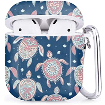 Compatible with AirPods 2 and 1 Shockproof Soft TPU Gel Case Cover with Keychain Carabiner for Apple AirPods Colorful Flip Flops