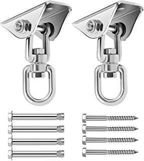 Wukong Heavy Duty Swing Hangers Suspension Hooks 1000 LB Capacity, 360° Rotate Swing Hooks w/ 4 Screw for Playground Porch Yoga Seat Hammock Chair Sandbag Swing Sets Indoor Outdoor (2 Pack)