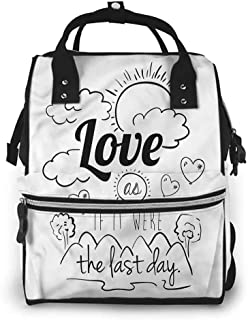 Diaper Backpack Changing Pad, Inspirational Optimist Message, Large Capacity, Waterproof and Stylish
