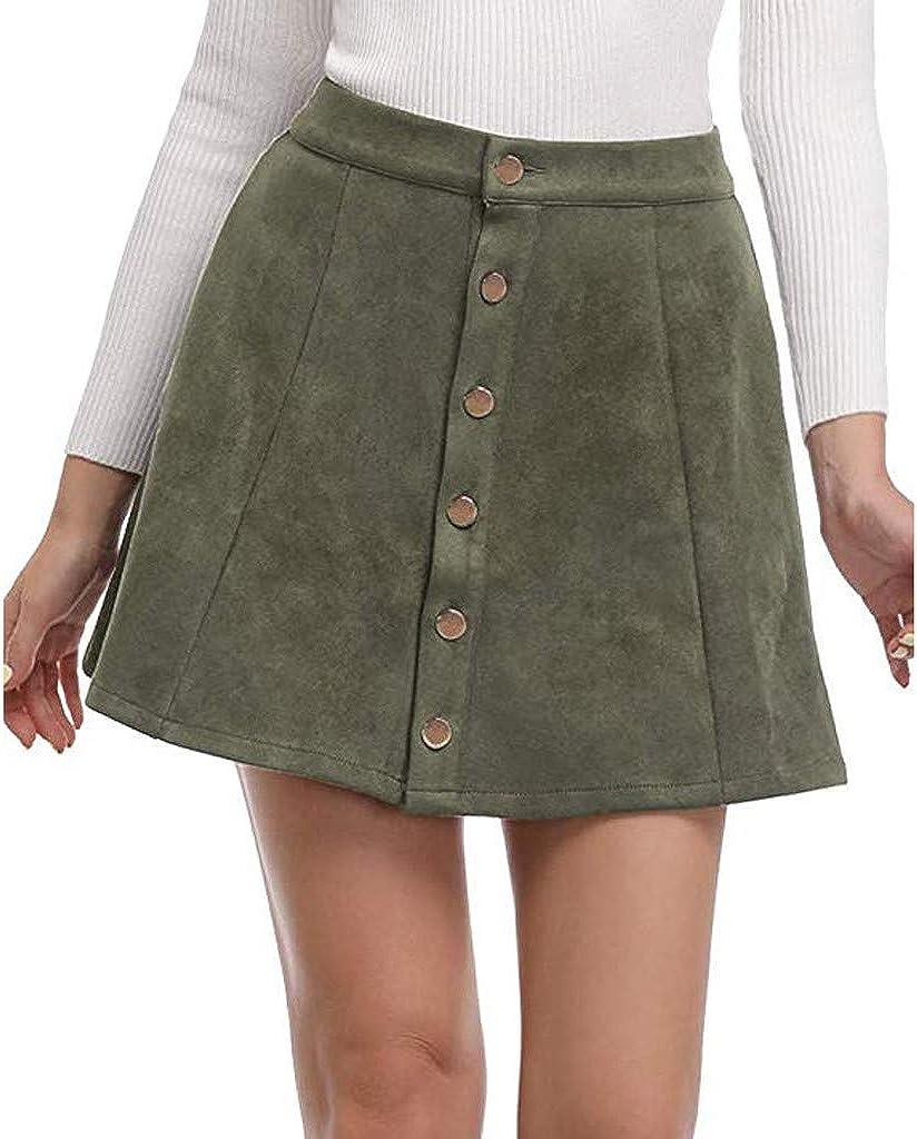 MODOQO Women's High Waist Skirt Casual Summer Button Down A-Line Mini Short Skirt
