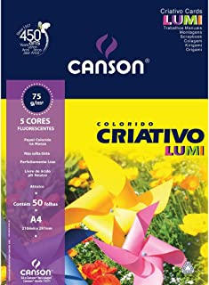 Canson Bloco Criativo Lumi A4 80 grs 50 Folhas e 5 Cores, Amarelo