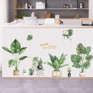 Poorminer Tropical Plants Green Leaves Wall Stickers, Monstera Palms Tree Leaf Plants Wall Decals Art Murals for Bedroom L...