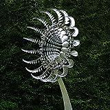Akeelii Einzigartige und magische Metall Windmühle Solarwindspinner Outdoor Windfänger Windrad Metall Windmühle Vintage Gartendeko für Garten, Hof, Terrasse, Rasenkunst (Silber)