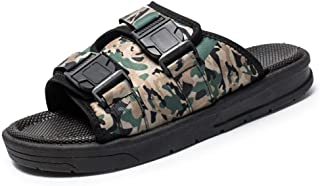 Mens Summer Beach Slippers Pool Slides Sandals Outdoor Shoes Antislip Camouflage Pattern Buckle Up Slides Hook&Loop Strap Adjustable Wear Resistant (Color : Green, Size : 6 UK)